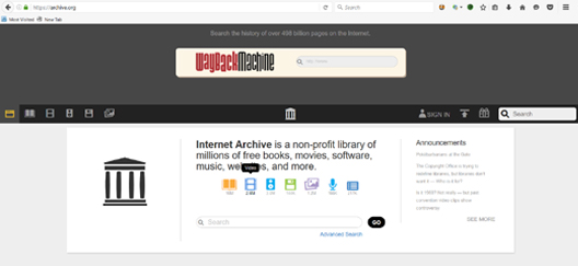 Wayback Machine web site