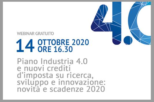 Webinar gratuito Piano industria 4.0 - novità e scadenze 2020